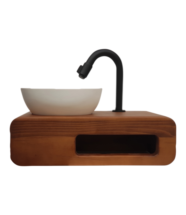 Sanitear Solid surface waskom met massief houten blad met handdoek houder 40 x 24 cm , Grey wash