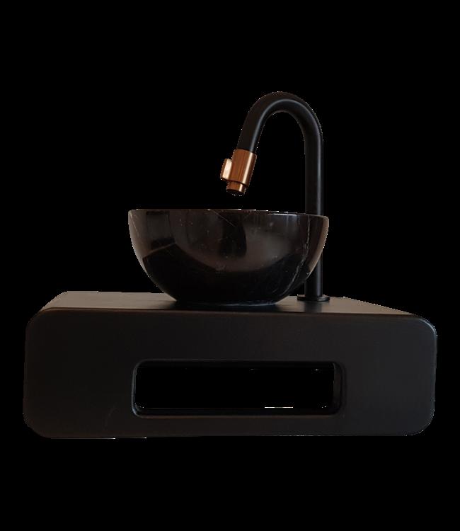 Como Mini fontein toilet zwart Black'N Roses met waskom 20 cm doorsnee