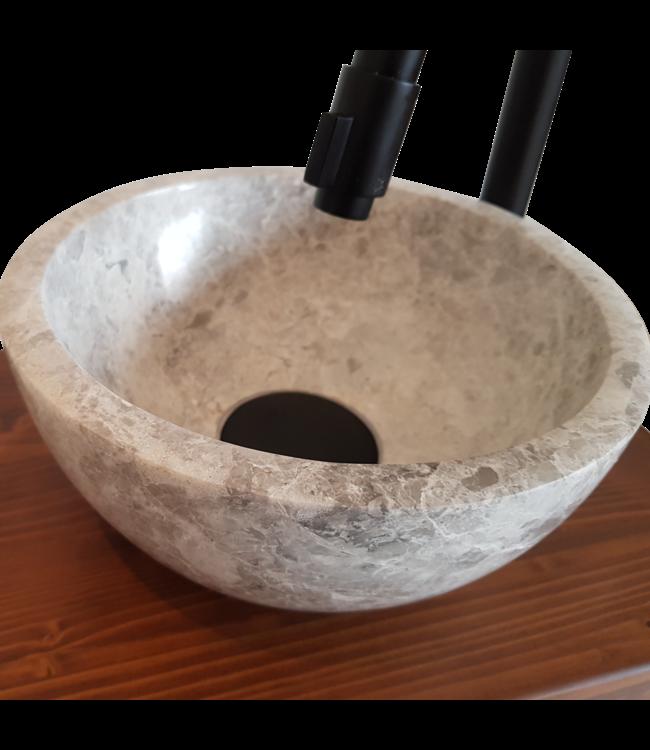Fontein Toilet Como  Natuursteen (Marmer) waskom met massief houten blad met handdoek houder 40 x 22 cm ,