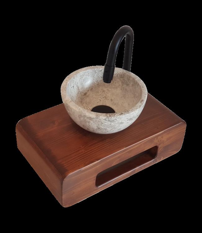 COMO  Natuursteen (Marmer) waskom met massief houten blad met handdoek houder 40 x 22 cm ,
