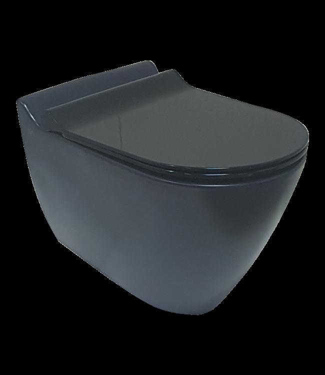 Sanitear MINERAAL hangtoilet , zonder spoelrand, mat zwart