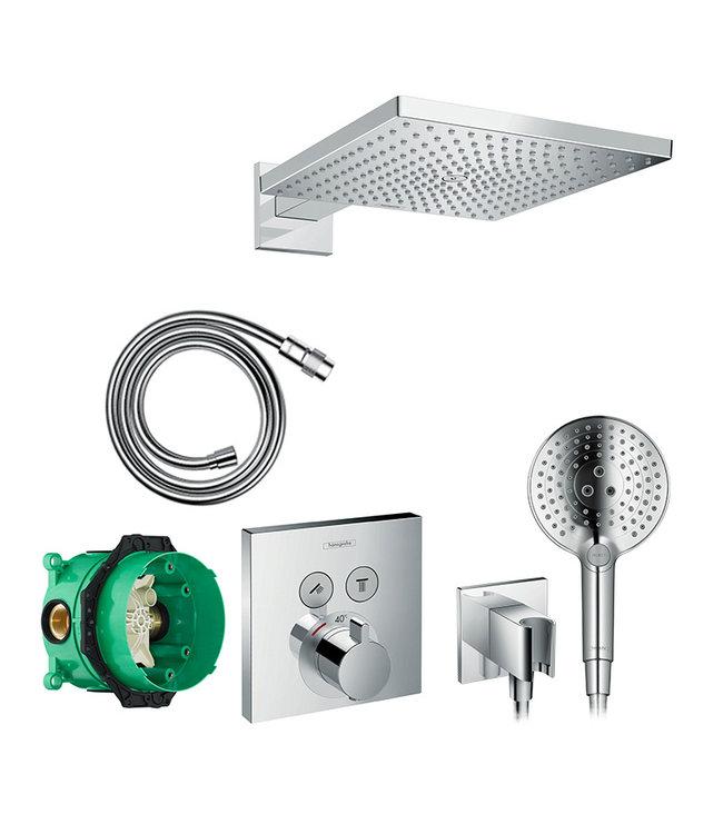 hansgrohe Shower Select  Inbouw douche thermostaatkraan 2 weg  & Omsteller & Hoofddouche, set HG02