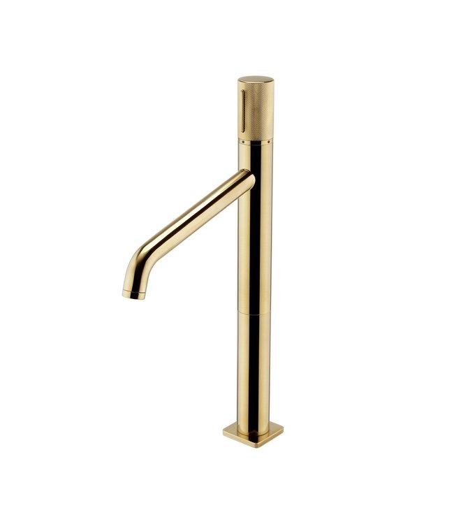 Como Wastafelkraan met geribbeld hendel, hoog, geborstelde goud kleur