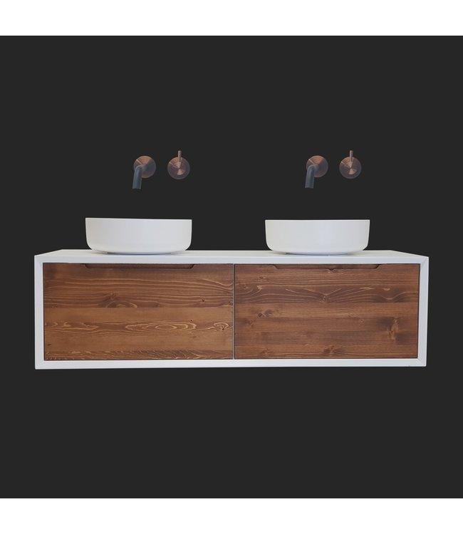 Como Lecco Wood CLW140  Mat Wit wastafelonderkast 140 cm met greeploze massief houten laden