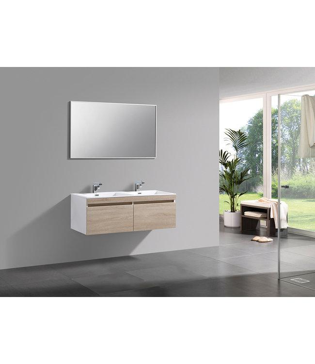 Sanitear  badkamermeubel set 120 cm aanbieding. Mineraal marmer wasbakken met led verlichting
