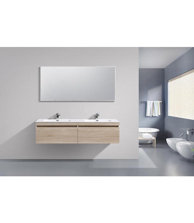 Sanitear  badkamermeubel set 160 cm aanbieding. Mineraal marmer wasbakken met led verlichting
