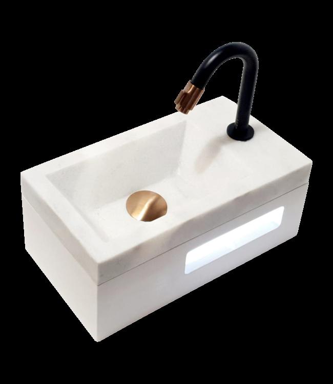 Como fontein toilet natuursteen wit, 40 x 20 x 14 cm