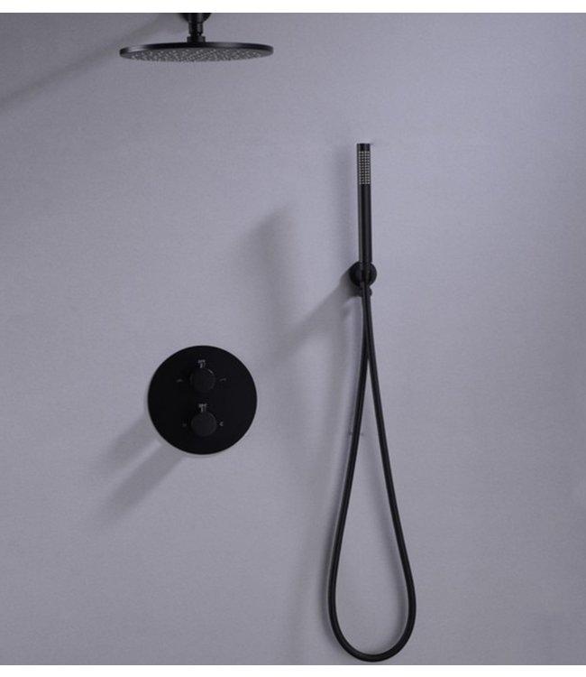 Nordlig STAAL Inbouw doucheset mat zwart met 30 cm hoofddouche