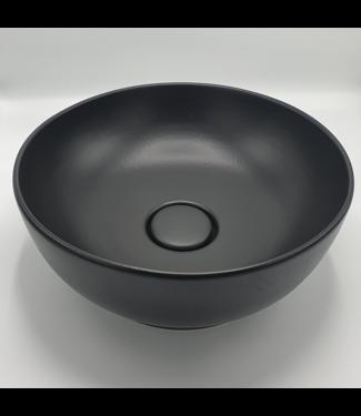 Waskom zwart 40 cm met keramiek afvoer dop
