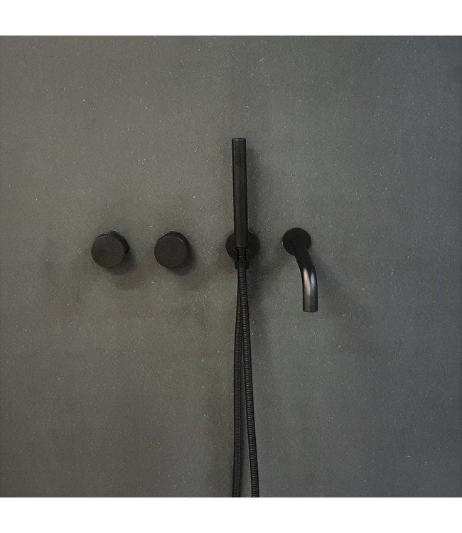 Como Mood 60 badkraan inbouw zwart met 23 cm uitloop