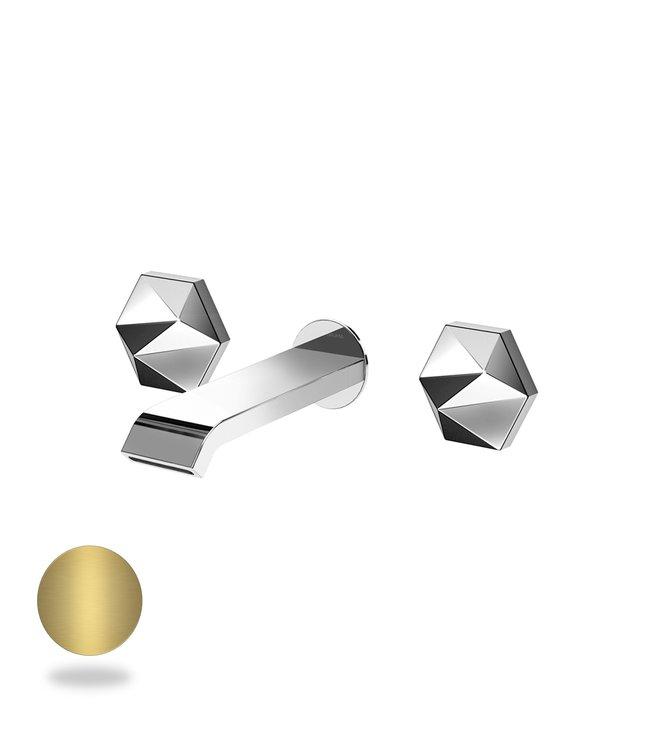 Bruma Utopia inbouw wastafelkraan 3 gats goud met 23 cm uitloop