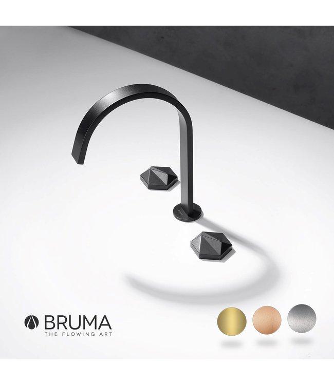 Bruma Utopia 3-gats progressieve wastafelkraan zwart kraangat in het blad