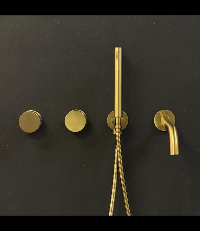 Como Mood 60 badkraan inbouw messing goud met 23 cm baduitloop
