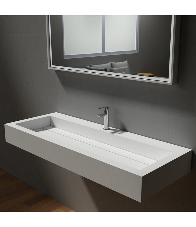 Sanitear Ophang wastafel solid surface 120 x 46 x 13 cm