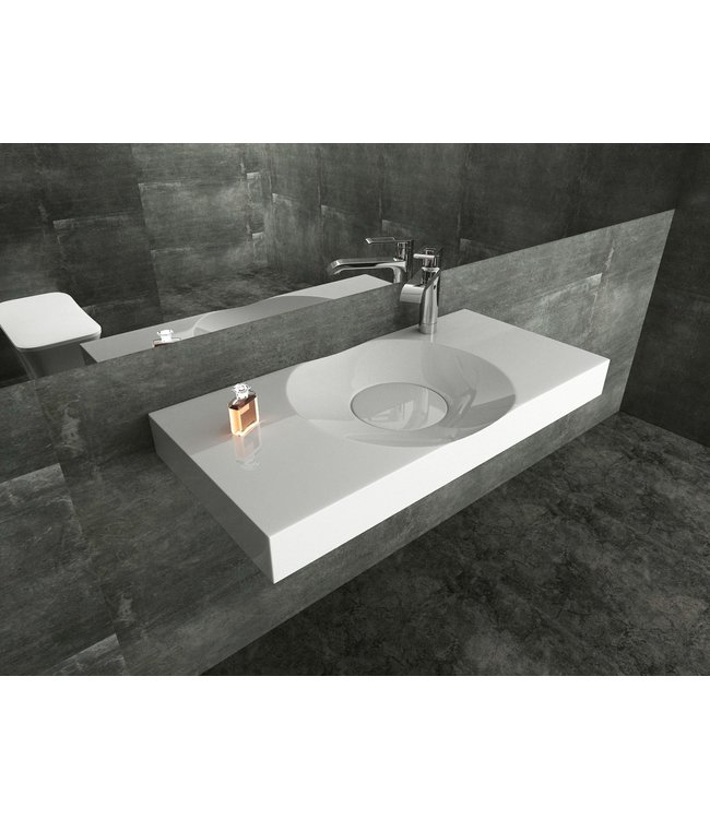 Sanitear Ophang wastafel solid surface 100 x 48 x 10 cm