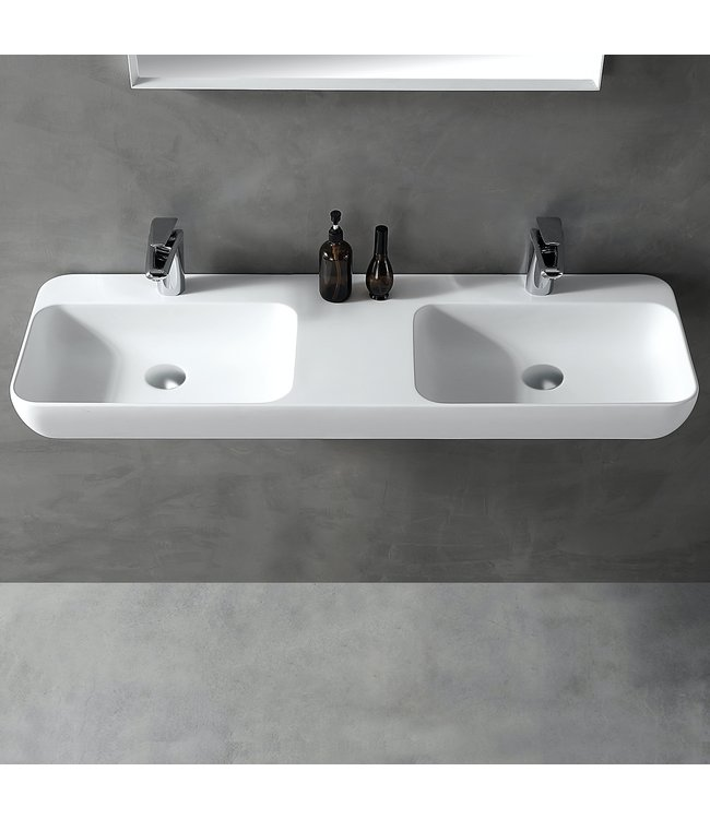 Sanitear Ophang wastafel solid surface 120x40x12cm mat wit