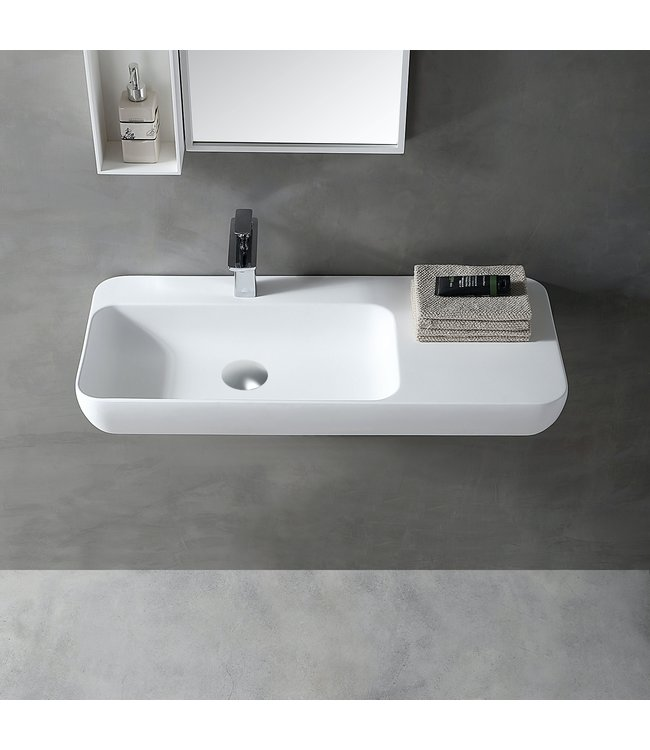 Sanitear Ophang wastafel solid surface 90x40x12cm mat wit