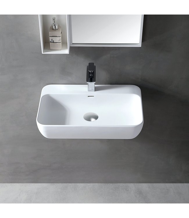 Sanitear Ophang wastafel solid surface 60x40x12cm mat wit