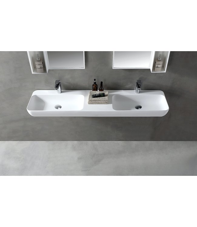Sanitear Ophang wastafel solid surface 150x40x12cm mat wit