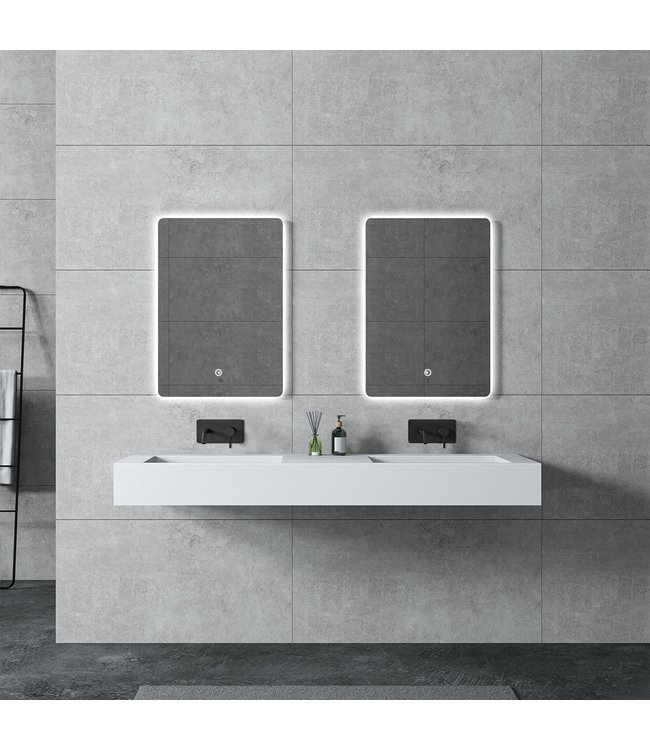 Sanitear Ophang wastafel solid surface 155x45x15cm mat wit