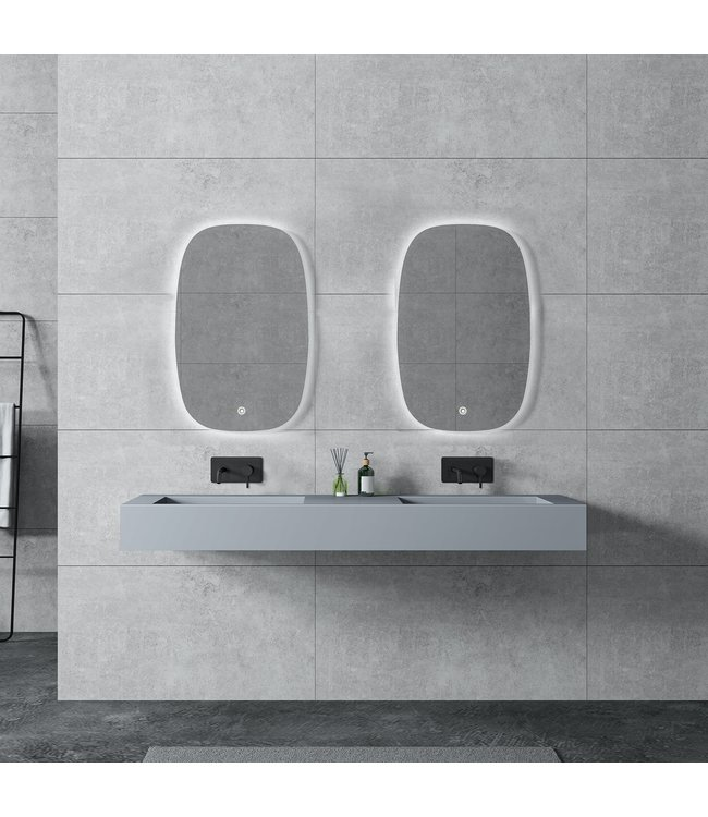 Sanitear Ophang wastafel solid surface 155x45x15cm mat grijs