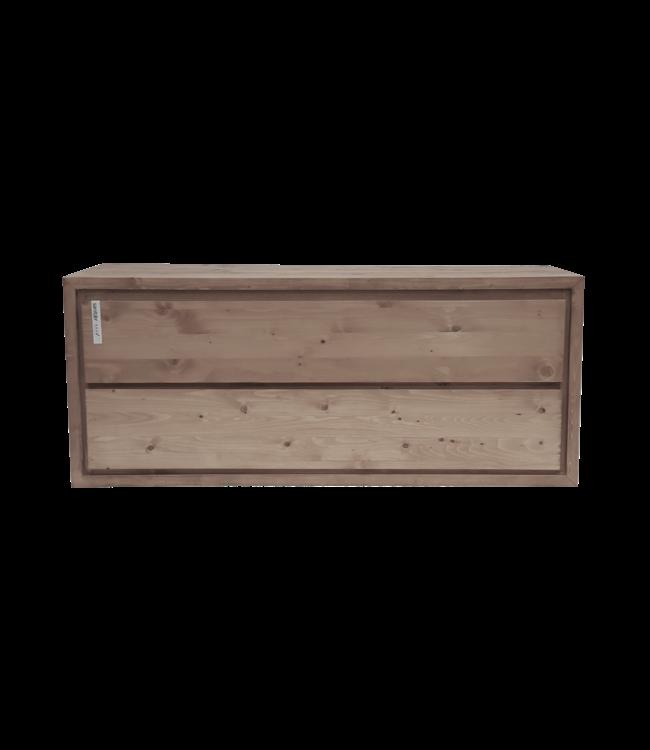 KAAN  Aanbieding ! Badkamermeubel onderkast massief hout 130 cm , soft close 2 laden