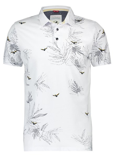 A Fish Named Fred 20.03.320 Polo Embroidery Bird White Pique