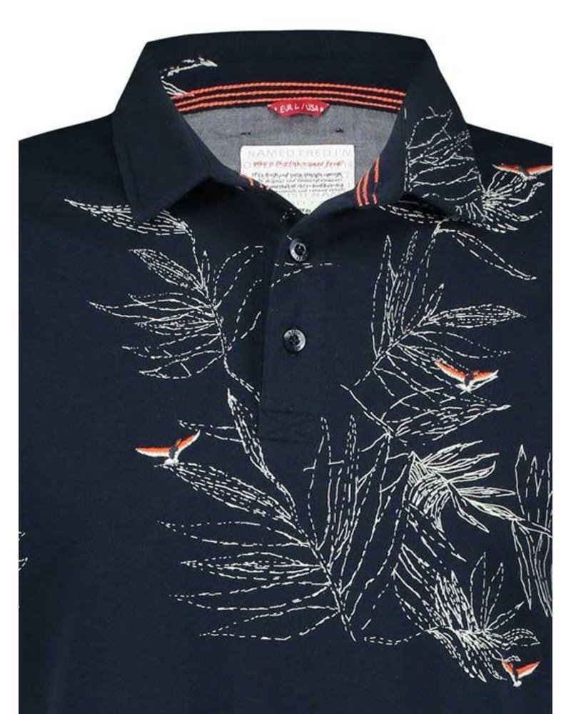 A Fish Named Fred 20.03.321 Polo Embroidery Bird Navy Pique