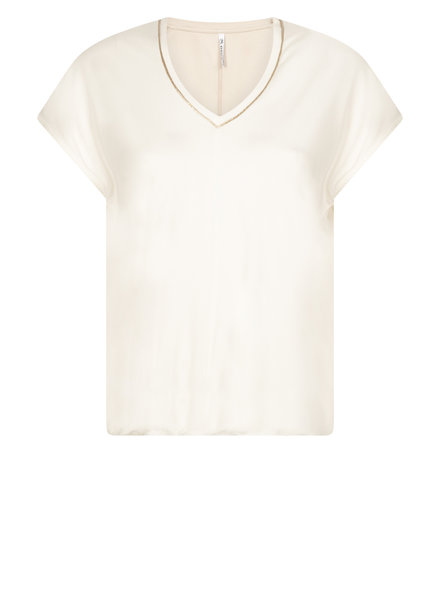 ZOSO 211 Nancy Luxury top with piping (0005 off white)