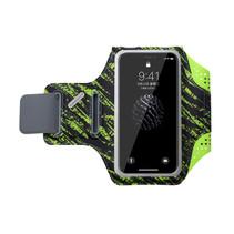 Sport telefoonarmband – Hardloop armband - incl. sleutelvakje – opbergsysteem voor oordopjes – waterafstotend – groen/zwart
