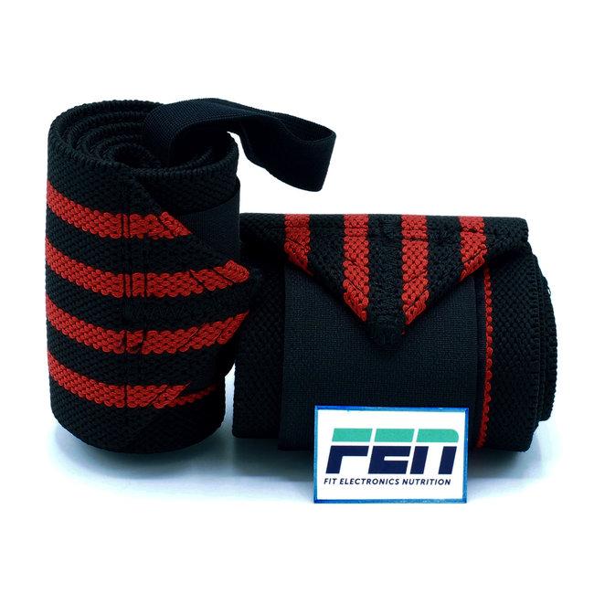 Fen Weightlifting Straps Extra Stevig zwart met rode strepen – extra stevige wrist straps – one size – geschikt voor crossfit, weightlifting en powerlifting
