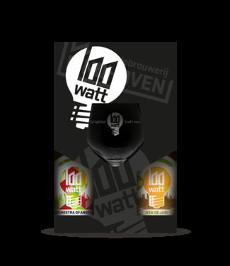 100 watt 100 Watt Cadeauverpakking 4-Pack + glas