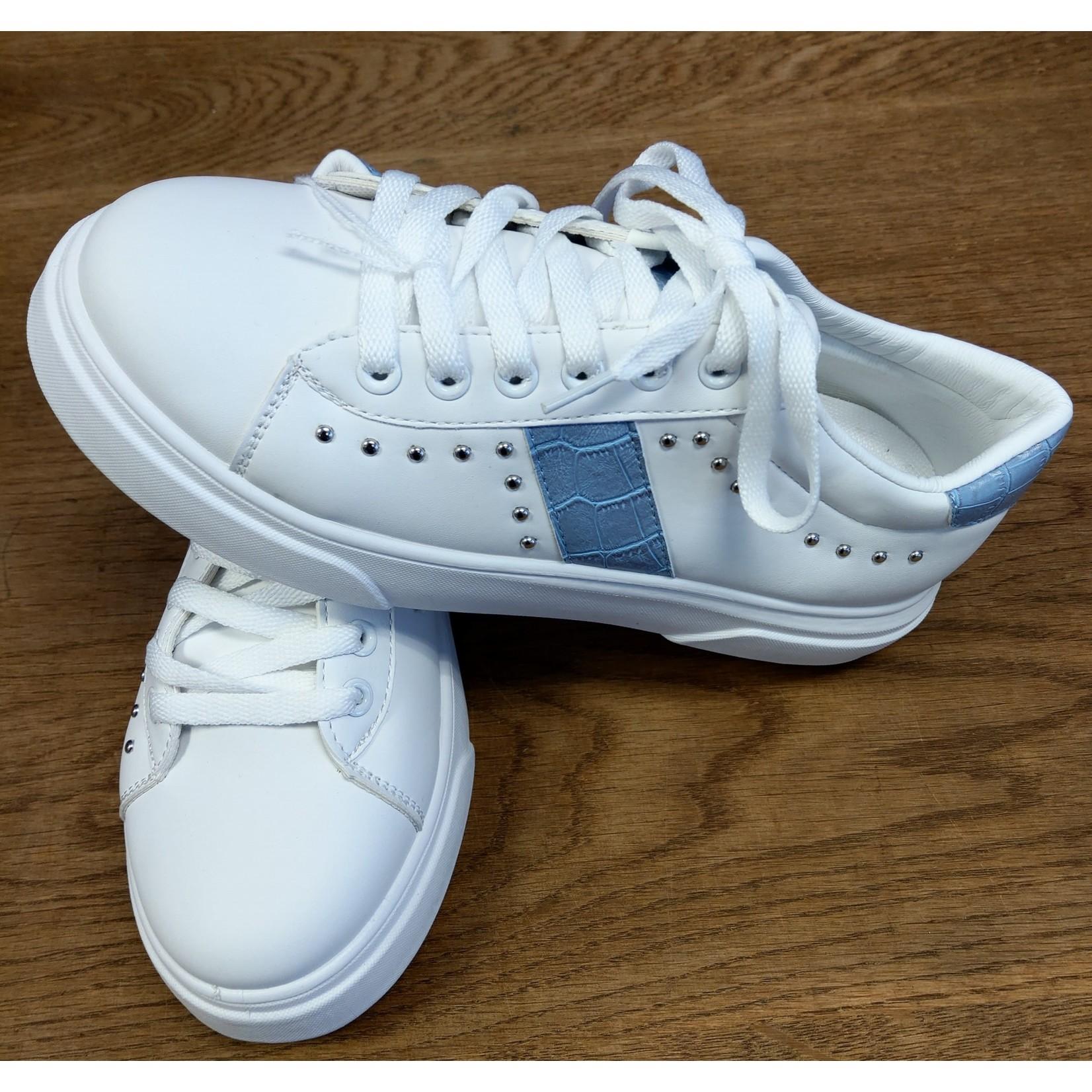 Witte sneaker dames met blauwe streep