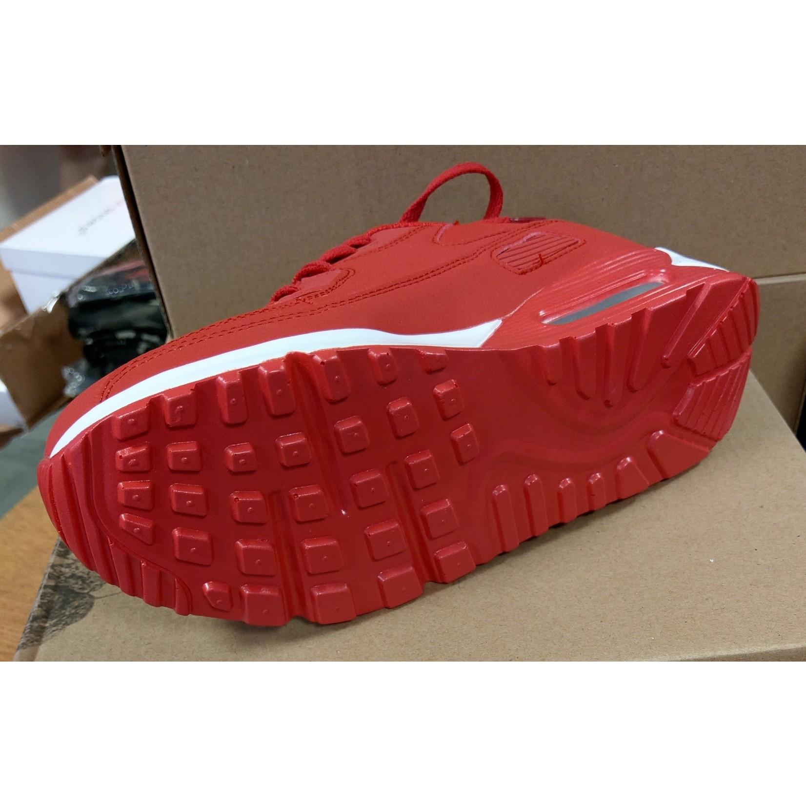 Sneaker unisex Rood met witte zool.