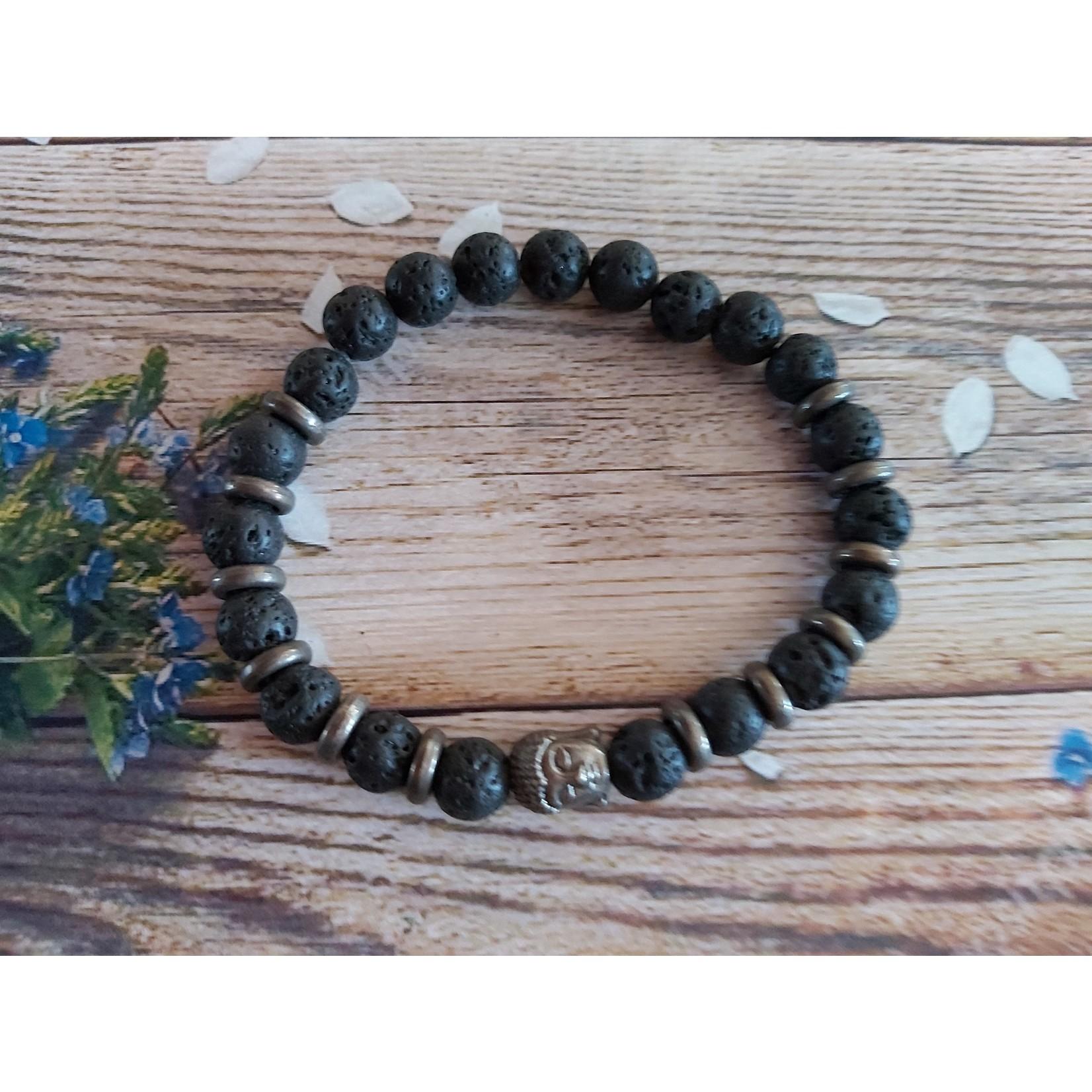 Armband 'Buddha' unisex zwart