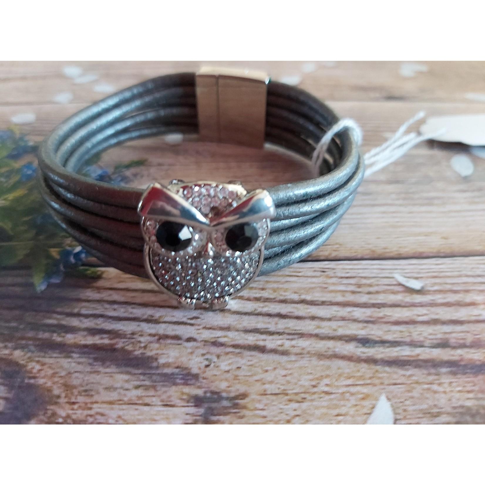 Armband 'Owl' dames grijs