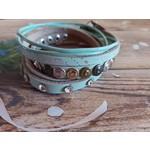 Armband met studs en steentjes dames
