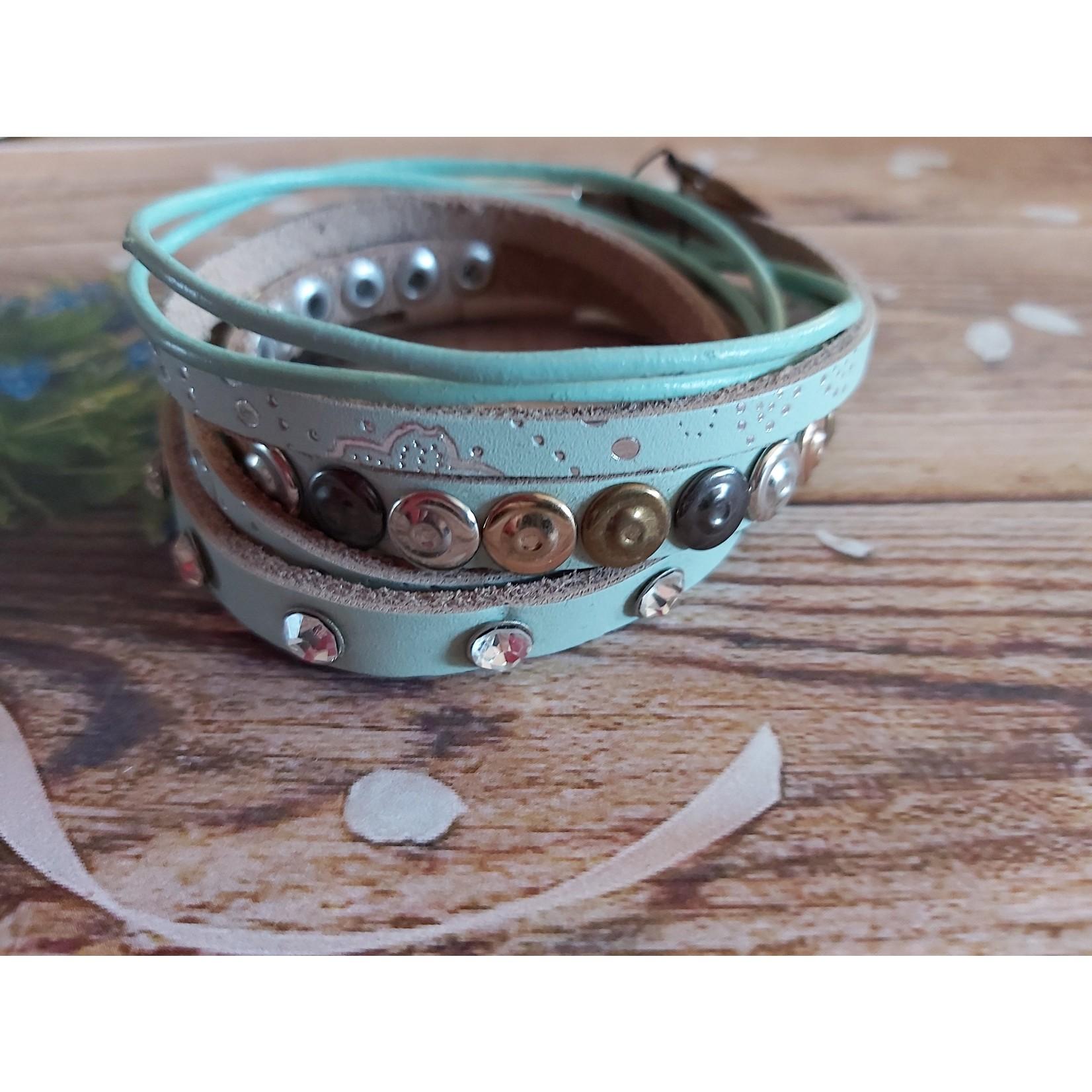 Armband met studs en steentjes dames blauw