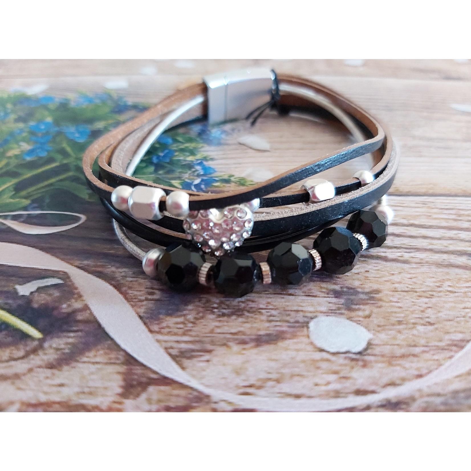 Armband met zwarte steentjes dames