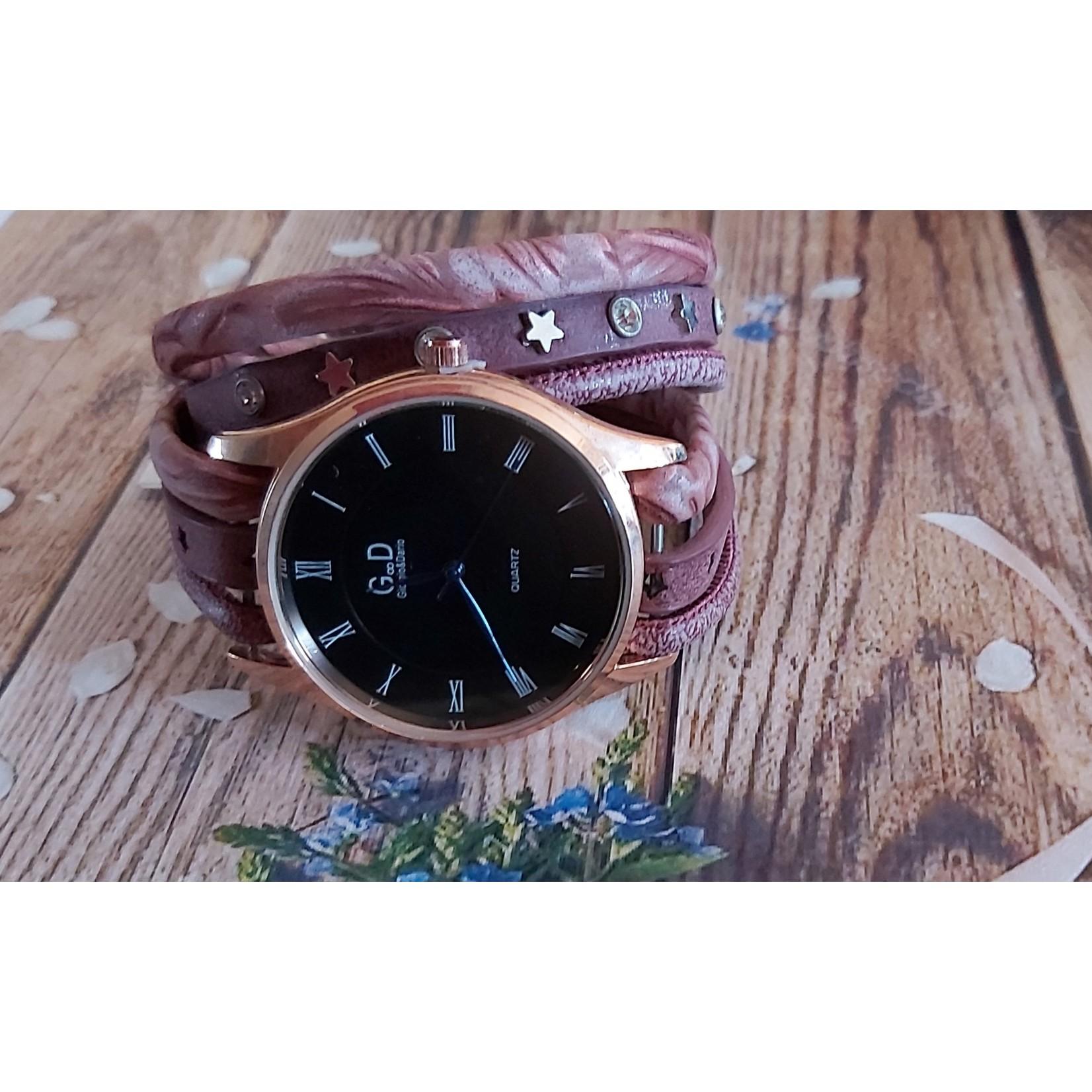 Armband met horloge dames paars
