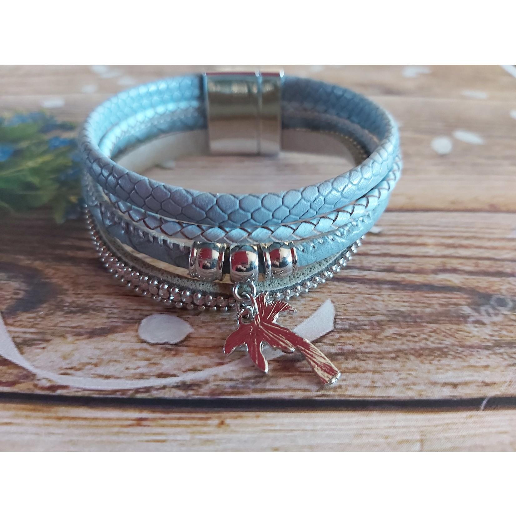 Armband 'Palm Tree' dames  blauw