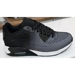 Sportieve Sneaker unisex Zwart/Wit met witte zool
