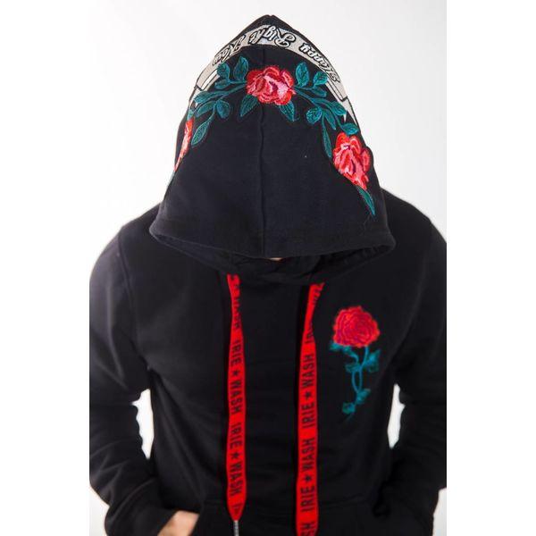 Y Hoodie Black red flowers
