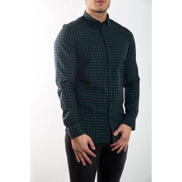 Y Overhemd Slim Fit Geruit Groen of Grijs