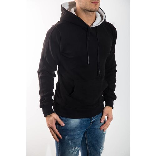 Sweater met capuchon fluffy zwart