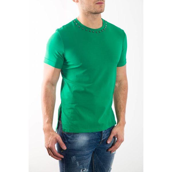 T-shirt studs neck GREEN