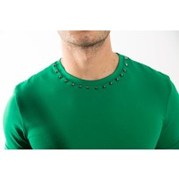 Y T-shirt studs neck GREEN