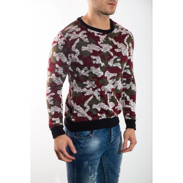 camo sweater red