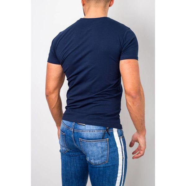 BASIC T-SHIRT STRETCH ROUND NECK DARK BLUE