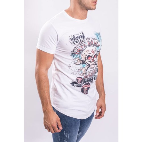 Y T-shirt skull hot rod 183209 white